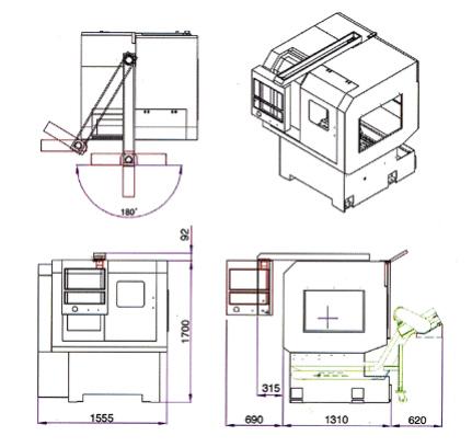 CNC Multi-Slide Automatics LNA-36T, LNA-42T (LNA-36T, LNA-42T) - Machine Dimensions